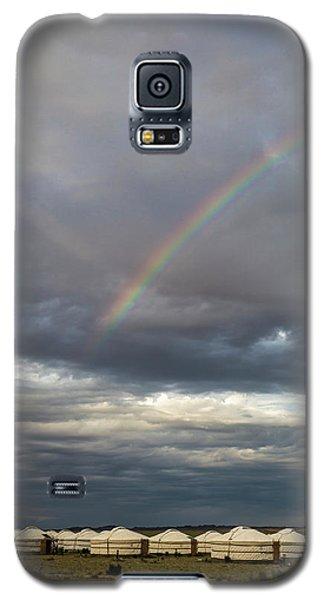 Galaxy S5 Case featuring the photograph Rainbow Over Ger Camp, Gobi, 2016 by Hitendra SINKAR