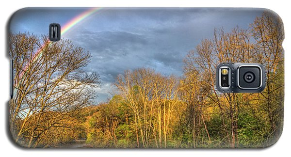 Galaxy S5 Case featuring the photograph Rainbow Over The River by Debra and Dave Vanderlaan