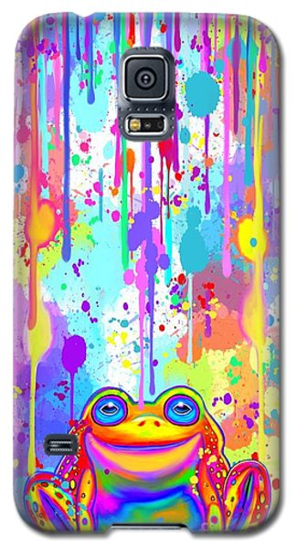 Galaxy S5 Case featuring the painting Rainbow Painted Frog  by Nick Gustafson