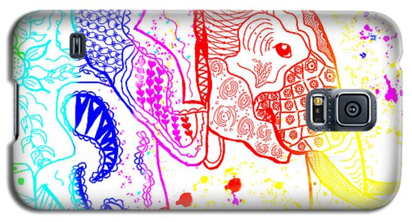 Rainbow Zentangle Elephant Galaxy S5 Case