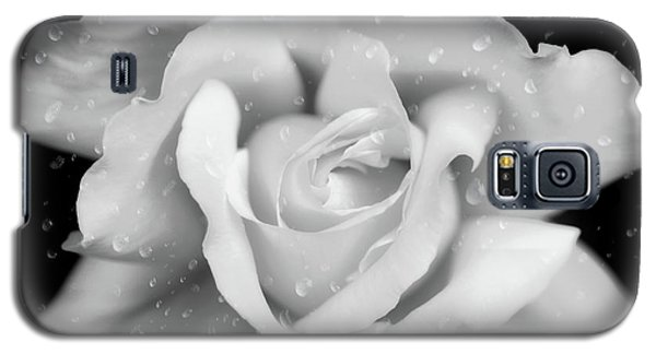 Galaxy S5 Case featuring the photograph Raindrops On Rose Black And White by Jennie Marie Schell