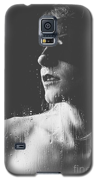 Raindrops - Blindfolded Beautiful Woman Behind A Window Galaxy S5 Case