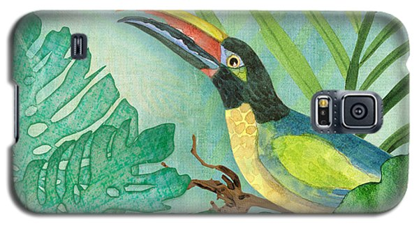 Rainforest Tropical - Jungle Toucan W Philodendron Elephant Ear And Palm Leaves 2 Galaxy S5 Case