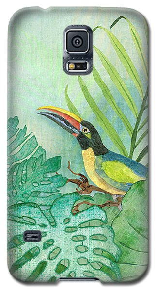 Toucan Galaxy S5 Case - Rainforest Tropical - Tropical Toucan W Philodendron Elephant Ear And Palm Leaves by Audrey Jeanne Roberts
