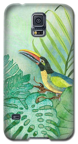 Rainforest Tropical - Tropical Toucan W Philodendron Elephant Ear And Palm Leaves Galaxy S5 Case by Audrey Jeanne Roberts