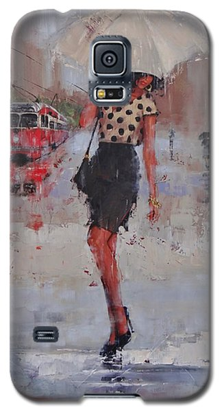 Galaxy S5 Case featuring the painting Rainy Day Blues by Laura Lee Zanghetti