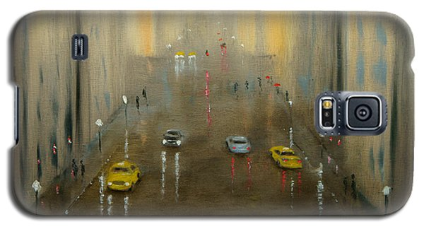 Galaxy S5 Case featuring the painting Rainy Day Cityscape by Chris Fraser