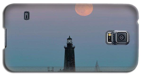 Ram Island Light Buck Moon And Sailboat Galaxy S5 Case