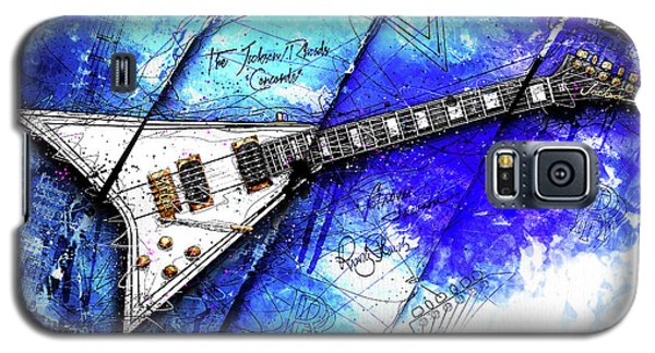 Randy's Guitar On Blue II Galaxy S5 Case by Gary Bodnar