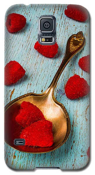 Raspberries With Antique Spoon Galaxy S5 Case by Garry Gay