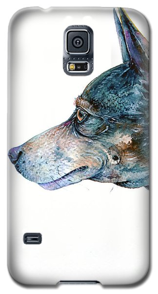 Galaxy S5 Case featuring the painting Rat Terrier by Zaira Dzhaubaeva