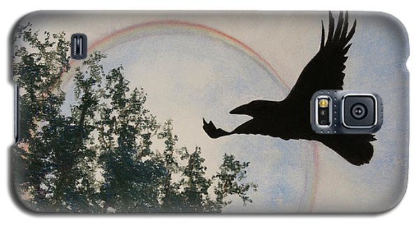 Galaxy S5 Case featuring the painting Raven Holds The Sun by Stanza Widen