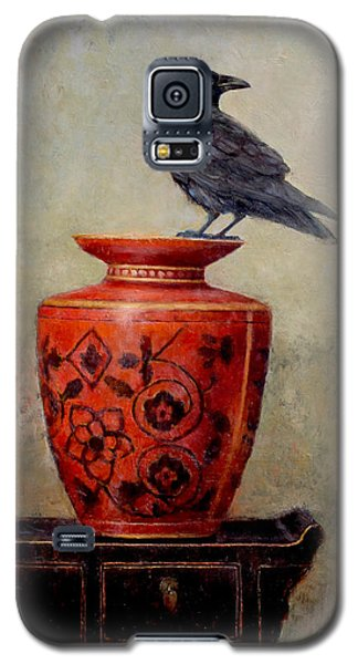 Blackbird Galaxy S5 Case - Raven On Red  by Lori  McNee