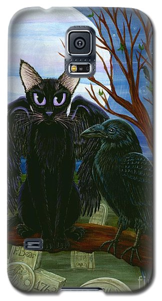 Galaxy S5 Case featuring the painting Raven's Moon Black Cat Crow by Carrie Hawks