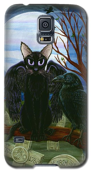 Raven's Moon Black Cat Crow Galaxy S5 Case by Carrie Hawks