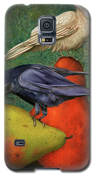 Galaxy S5 Case featuring the painting Ravens On Pears by Leah Saulnier The Painting Maniac