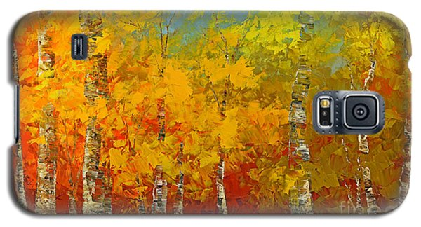 Galaxy S5 Case featuring the painting Ray Of Gold by Tatiana Iliina