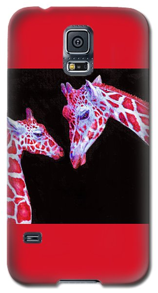 Read And Black Giraffes Galaxy S5 Case by Jane Schnetlage