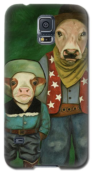 Galaxy S5 Case featuring the painting Real Cowboys 3 by Leah Saulnier The Painting Maniac