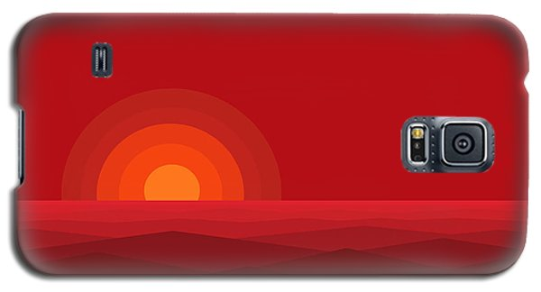 Galaxy S5 Case featuring the digital art Red Abstract Sunset II by Val Arie