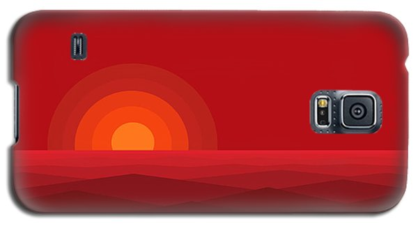 Red Abstract Sunset II Galaxy S5 Case by Val Arie
