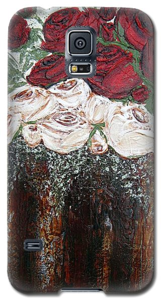 Red And Antique White Roses - Original Artwork Galaxy S5 Case