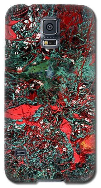 Galaxy S5 Case featuring the painting Red And Black Turquoise Drip Abstract by Genevieve Esson