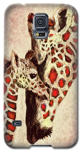 Red And Brown Giraffes Galaxy S5 Case