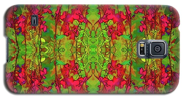 Galaxy S5 Case featuring the digital art Red And Green Floral Abstract by Linda Phelps