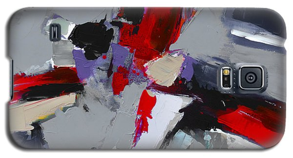 Galaxy S5 Case featuring the painting Red And Grey Abstract By Elise Palmigiani by Elise Palmigiani