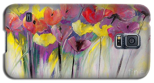 Red And Yellow Floral Field Painting Galaxy S5 Case by Lisa Kaiser