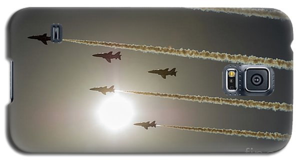 Galaxy S5 Case featuring the photograph Red Arrows Backlit Arrival  by Gary Eason