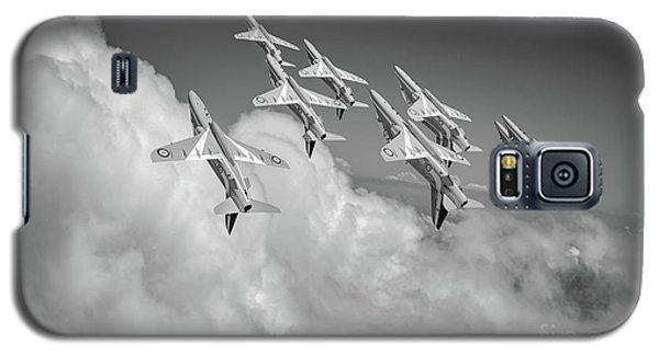 Galaxy S5 Case featuring the photograph Red Arrows Sky High Bw Version by Gary Eason