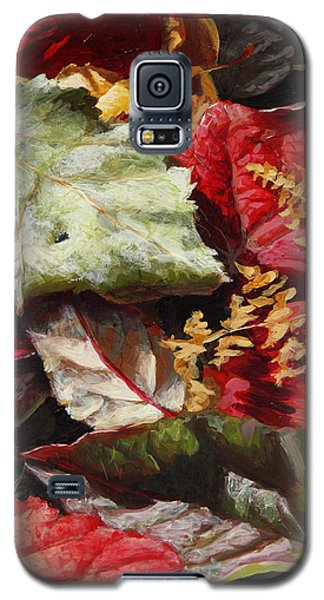 Galaxy S5 Case featuring the painting Red Autumn - Wasilla Leaves by Karen Whitworth
