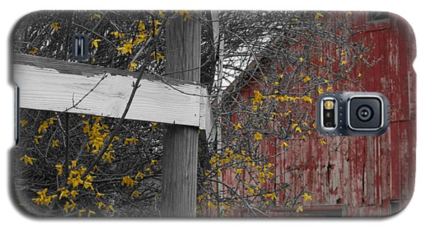 Galaxy S5 Case featuring the photograph Red Barn And Forsythia by Dylan Punke