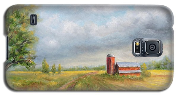 Galaxy S5 Case featuring the painting Red Barn In Spring by  Luczay
