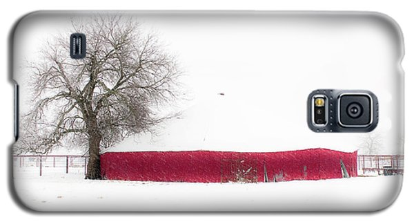 Galaxy S5 Case featuring the photograph Red Barn In Winter by Tamyra Ayles