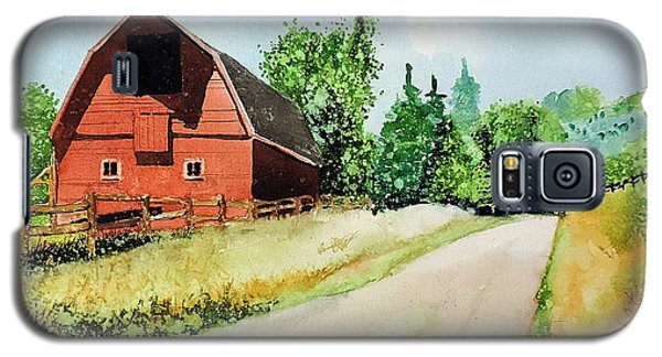 Galaxy S5 Case featuring the painting Red Barn Near Steamboat Springs by Tom Riggs