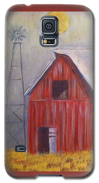 Galaxy S5 Case featuring the painting Red Barn With Windmill by Belinda Lawson