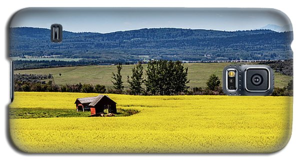 Red Barns In A Sea Of Canola Galaxy S5 Case