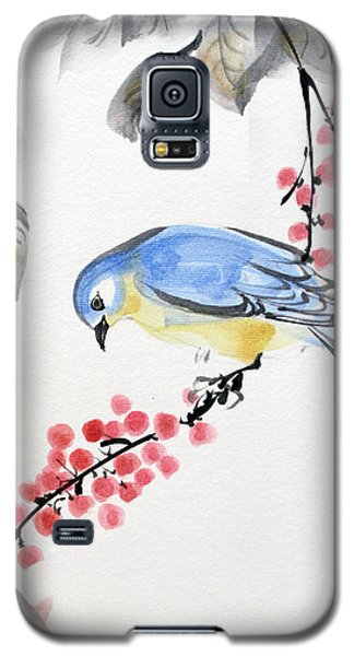 Red Berries Blue Bird Galaxy S5 Case