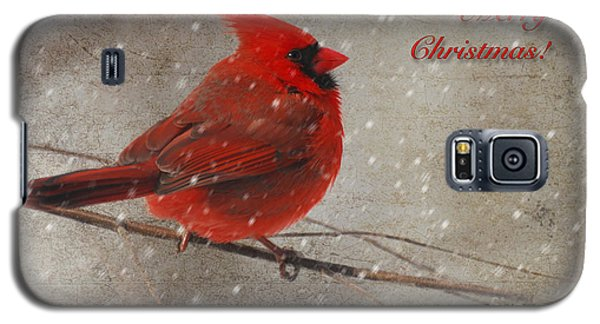 Red Bird In Snow Christmas Card Galaxy S5 Case by Lois Bryan