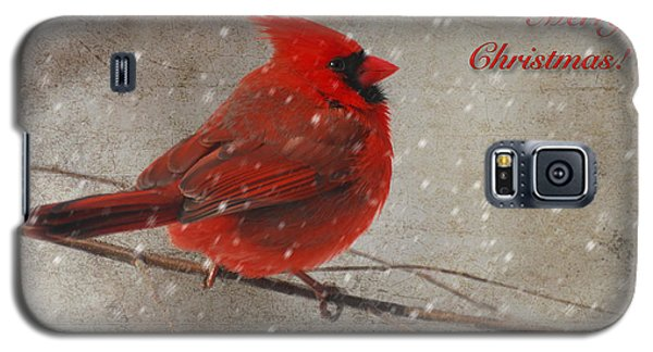 Red Bird In Snow Christmas Card Galaxy S5 Case