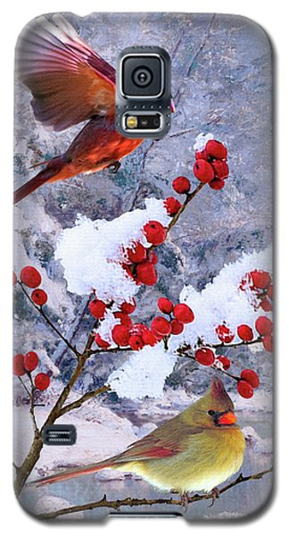 Red Birds Of Christmas Galaxy S5 Case