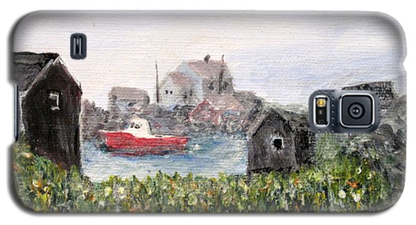 Galaxy S5 Case featuring the painting Red Boat In Peggys Cove Nova Scotia  by Ian  MacDonald