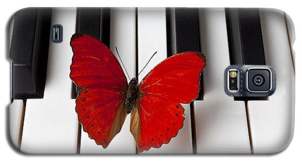 Red Butterfly On Piano Keys Galaxy S5 Case