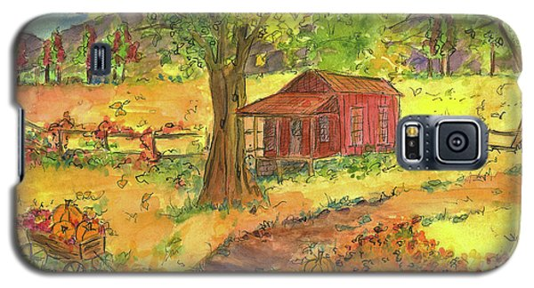 Galaxy S5 Case featuring the painting Red Cabin In Autumn  by Cathie Richardson