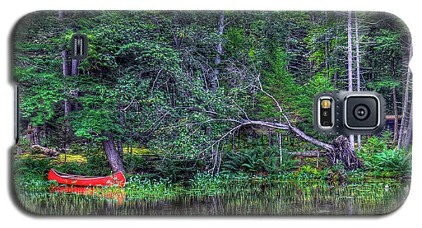 Galaxy S5 Case featuring the photograph Red Canoe Among The Reeds by David Patterson