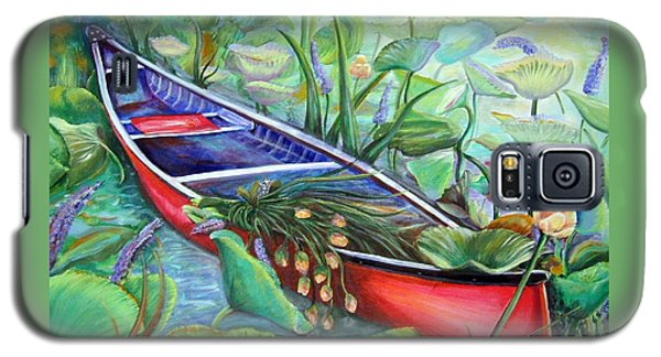 Galaxy S5 Case featuring the painting Red Canoe by Patricia Piffath