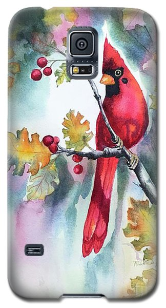 Red Cardinal With Berries Galaxy S5 Case